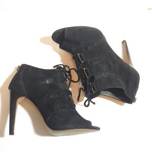 Isola open toed lace up ankle boots